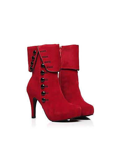 GGX/ Damen-High Heels-Lässig-Leder / Vlies-Stöckelabsatz-Absätze / Stifelette-Schwarz / Rot black-us8 / eu39 / uk6 / cn39