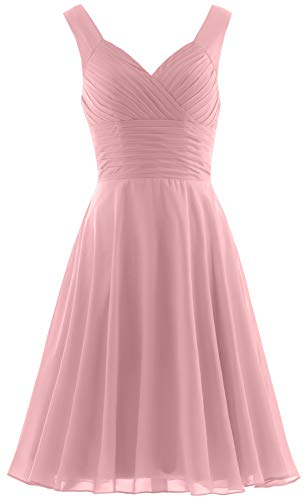 Short Gown Dress (ANTS Women's Pleated Sweetheart Bridesmaid Dresses A Line Cocktail Gown Size 2 US Blush Pink)