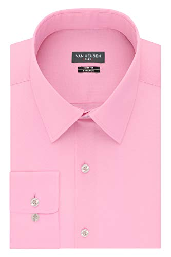 Van Heusen Men's Dress Shirt Slim Fit Flex Collar Stretch Solid, Pink Mist, 16