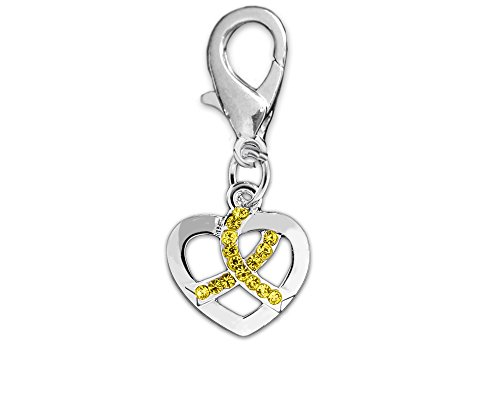 Fundraising For A Cause Crystal Yellow Ribbon Silver Heart Hanging Charms (Wholesale Pack - 25 Charms)