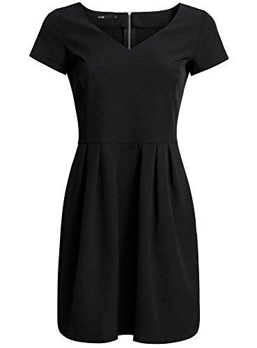 oodji Ultra Mujer Vestido de Tejido Grueso con Escote en V y Cremallera en la Espalda Negro (2900N)