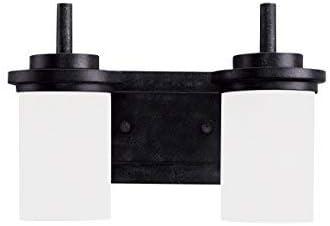 Sea Gull Lighting 44661-839 Winnetka Two Light Wall Bath Vanity Style Lights, Blacksmith Finish