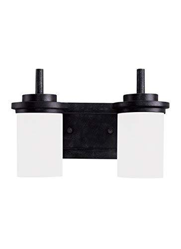 (Sea Gull Lighting 44661-839 Winnetka Two Light Wall / Bath Vanity Style Lights, Blacksmith Finish)