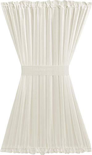 GoodGram Ultra Luxurious Semi Sheer Batiste Door Curtains with Tieback - Assorted Colors & Sizes (Ivory, Half Door Length) (Panel Back Tie Door)