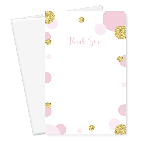 Mod Dot Thank You Card Blush and Gold 25 Pack -