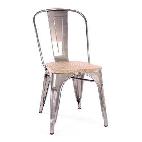 Design Lab MN Dreux Elm Wood Side Chair, Set of 4, Gunmetal Light Wood