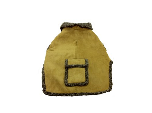 Suede Faux Dog Coat (CPC Faux Suede and Tipped Berber Coat/Jacket for Dogs, Large, Caramel)