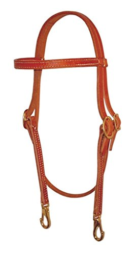 Trainer Harness Leather Headstall With Snaps, Tan