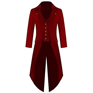 XQS Mens Casual Gothic Tailcoat Jacket Steampunk High Collar Coat