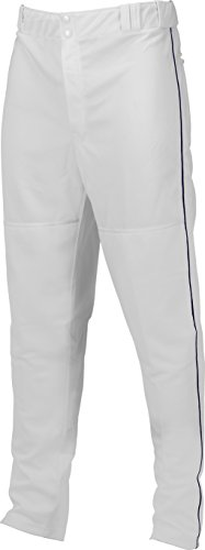 Double Knit Piped Baseball Pant, White/Navy, Large (Double Knit Softball Pant)