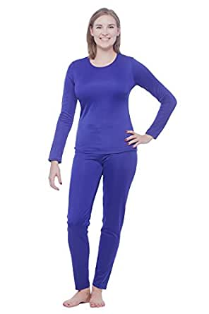 Cuddl Duds Womens Winter Thermal Long underwear base layering set, Purple-S