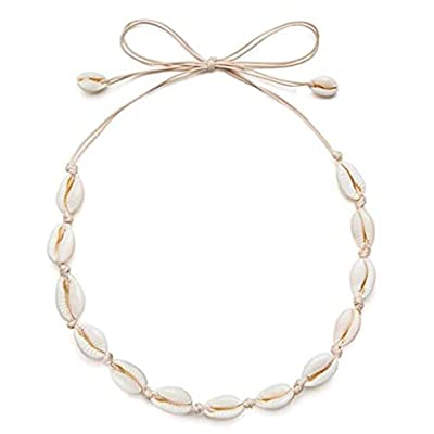 HENGSONG Cowrie Shell Choker Necklace for Women Hawaiian Seashell Pearls Choker Necklace Statement Adjustable Cord Necklace: Toys & Games