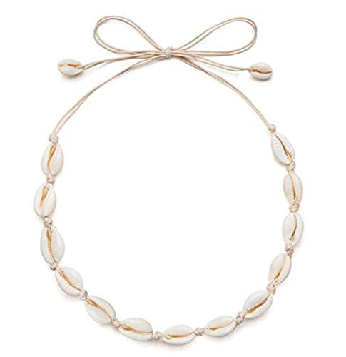 HENGSONG Cowrie Shell Choker Necklace for Women Hawaiian Seashell Pearls Choker Necklace Statement Adjustable Cord Necklace (For 2 Necklaces Dollars)
