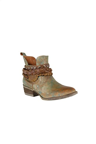Corral Women's Green Harness & Stud Details Round Toe Leather Western Ankle Cowboy Boots - 8 B ()