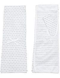 Women Summer Sun UV Protection Fingerless Breathable Gloves Ribbon Dots Mittens Sunscreen Sleeves Sunblock White