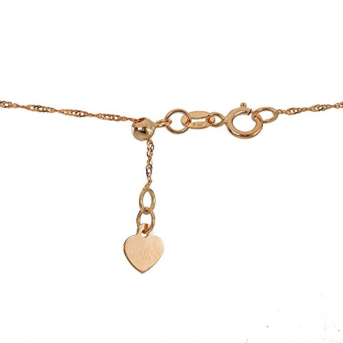 Bria Lou 14k Rose Gold .9mm Italian Singapore Adjustable Chain Anklet, 9-11 Inches by Bria Lou (Image #1)