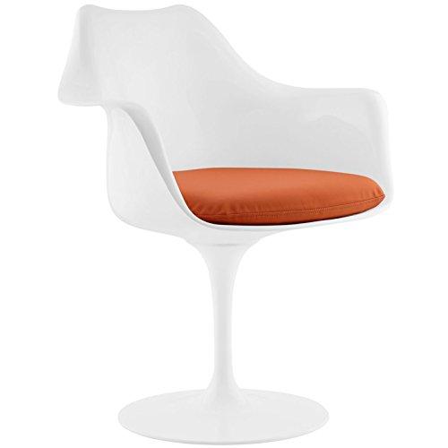 Modway Lippa Mid-Century Modern Faux Leather Cushion, Dining Armchair, Orange (Armchair Orange)