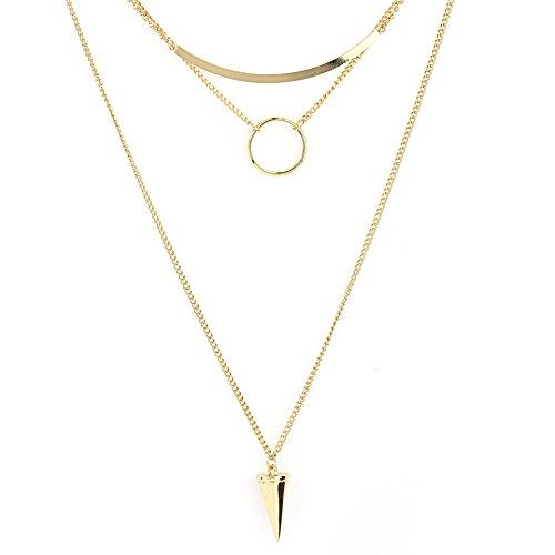 United Elegance - Distinctive Gold Tone Multi-Strand Necklace (Gold Circle)