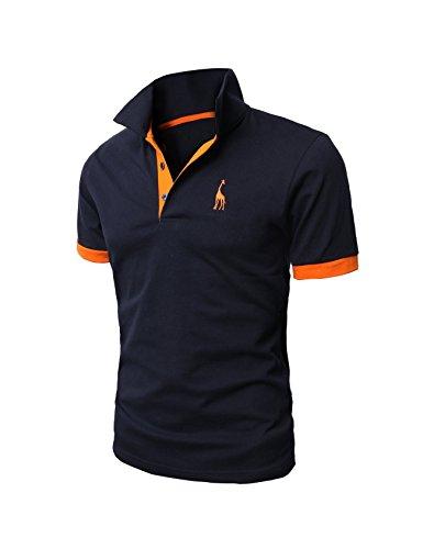 Bestgift Men's Casual Slim Short Sleeve Polo T-shirt Dark Blue XXXL