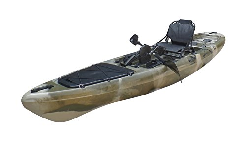 Brooklyn Kayak Company BKC UH-PK13 Pedal Drive Solo Traveler 13 Foot Kayak – Pedal Propeller Drive Single Sit On Top Fishing Kayak with Rudder Control (Camo)
