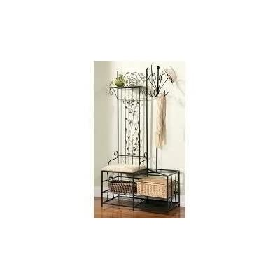 Entryway Hall Tree,,Coat Rack,Bench With Storage, Metal,Black - Entryway Hall Tree- This black coat rack bench will be a great alternative to a cluttered closet or addition to your mud room. Coat Rack- Designed to bring organization to the foyer or mudroom, this pretty bench has three hooks for holding jackets, hats and coats, while the attached hall tree holds additional items. 36 inches wide x 19 inches deep x 71 inches high - hall-trees, entryway-furniture-decor, entryway-laundry-room - 31nfYRWgrCL. SS400  -