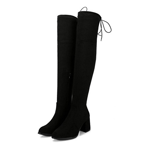 Over Knee Boots Black Zipper Women KemeKiss wqZRIxHOtn