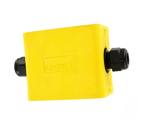 Leviton 3059F-1Y Portable Outlet Box, Single-Gang, Standard Depth, Feed-Thru Style, Cable Diameter 0.230-Inch 0.546-Inch, Yellow