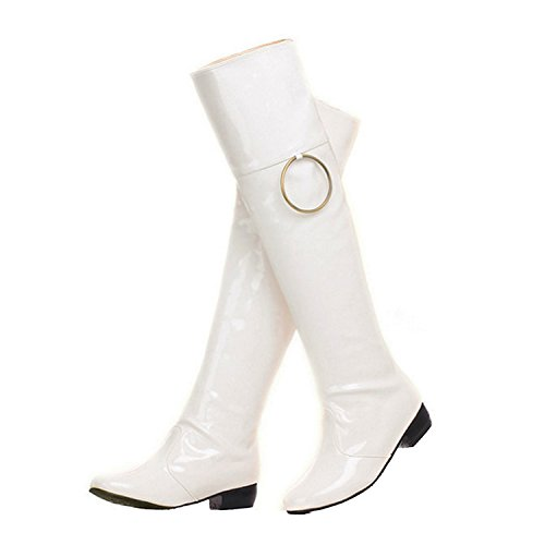 Nonbrand Women's Cuban Heel Synthetic Over Knee Boots White AMssfXx0