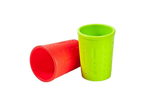 Kinderville Bigger Bites Silicone Cups, Set of 2 in Red / Green