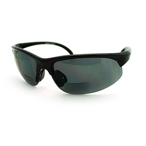 Mens Sunglasses with Bifocal Reading Lens Half Rim Sports Fashion (Black, 2.5) (Bifocal Reading Sunglasses)