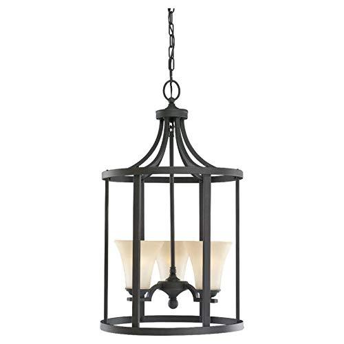 Sea Gull Lighting 51375-839 3-Light Hall and Foyer Fixture, Cafe Tint Glass Shades and Blacksmith (28 Sea Gull Lighting)