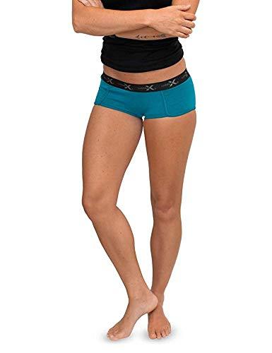 Woolx Women's Lila Lightweight & Durable Merino Wool Womens Boy Short Underwear, Aqua, Medium