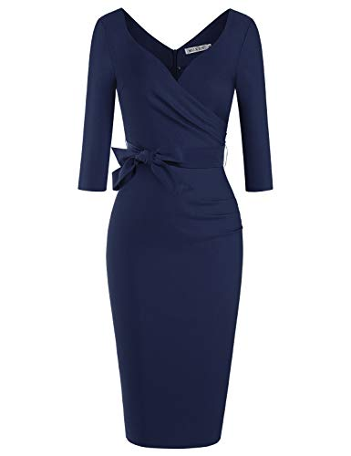 MUXXN Audrey Hepburn Fall Style Empire Waist Juniors Graduation Party Dress (Blue XXL)