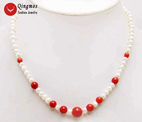 Natural Pearl Necklace for Women with 5mm Round White Pearl 17