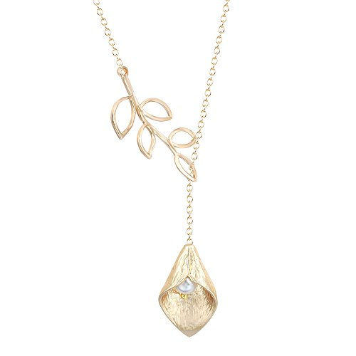 MUZHE Y Lariat Olive Branch with Calla Lily Flower Necklace Charm Gold Silver Tone Pendant Jewelry (Gold)