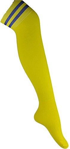 Demarkt Mens Long Cotton Football Socks Soccer Stockings Sport Socks Over Knees Yellow Ap1If