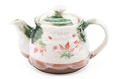 Authentic Japanese Decorative Earthenware Tea Pot 18 Fl oz with Stainless Steel Strainer Afternoon Tea Teapot Textured Glaze Floral Design Handcrafted in Japan Fuji Merchandise Corp Cherry Blossoms Pot