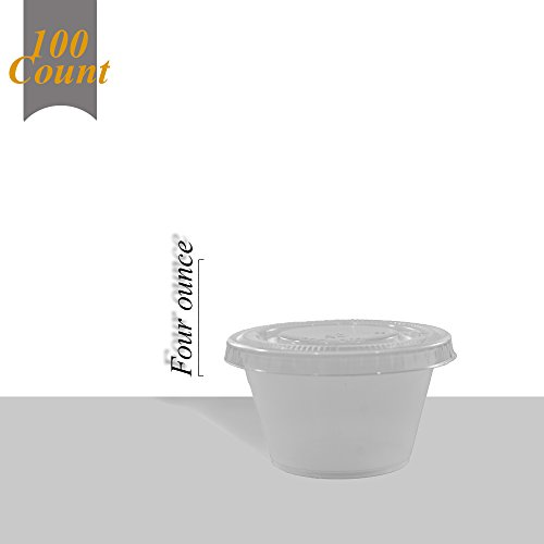 e Translucent Plastic Cups with Lids, 100 Count - 4 Ounce ()