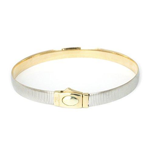- 14k White & Yellow Gold 6mm Reversible Omega Bracelet, 8