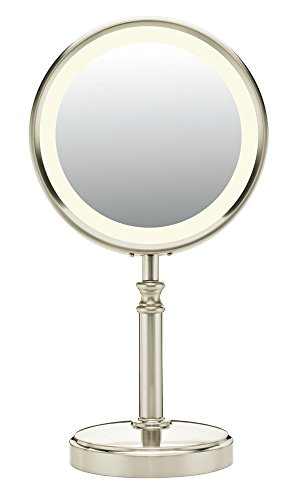 Conair Double-Sided Lighted Makeup Mirror - Lighted Vanity Makeup Mirror; 1x/10x magnification; Satin Nickel Finish (Pedestal Makeup Mirror)