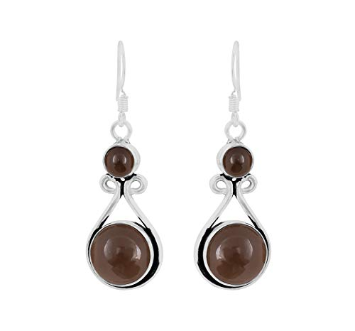 Genuine Round Shape Smoky Quartz Dangle Earrings 925 Silver Overlay Handmade Fashion Jewelry For Women Girls (Smoky Quartz Sterling Earrings)