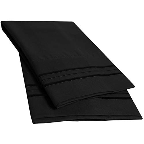 Sweet Home Collection 2 Pack Pillow Case Set 1800 Series Fine Double Brushed Microfiber Triple Marrow Stitch Pillowcases, Standard, Black