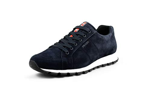 Sneakers Suede Prada - Prada Men's Scamosciato Suede Trainer Sneaker, Blue 4E3233 (12.5 US / 11.5 UK)