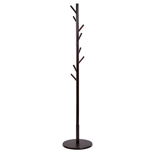 maxgoods Coat Rack Free Standing Clothes Rack DIY Heavy Duty Entryway Wooden Rack Hat Rack Corner Hall Umbrella Stand Hall Tree Bedroom Living Room Office,Easy Assemble (Size 6)