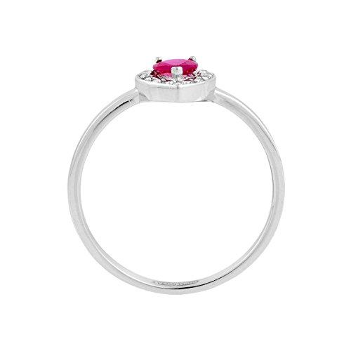 Bague CLEOR en Or 375/1000 Blanc et Rubis Rouge, Oxyde - Femme