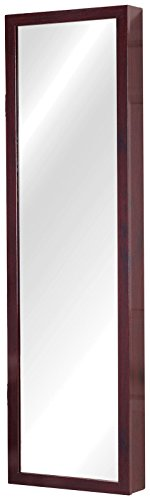 Plaza Astoria Over The Door/Wall-Mount Jewelry Armoire with Full Length Mirror, Lined Storage Interior, Vanity Mirror, Cherry (Lined Storage)