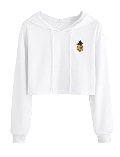 NarZhou Women Teen Girls Cotton Cute Crop Top Croptop Printed Hoodie Pullover Top Sweatshirt (White, S)