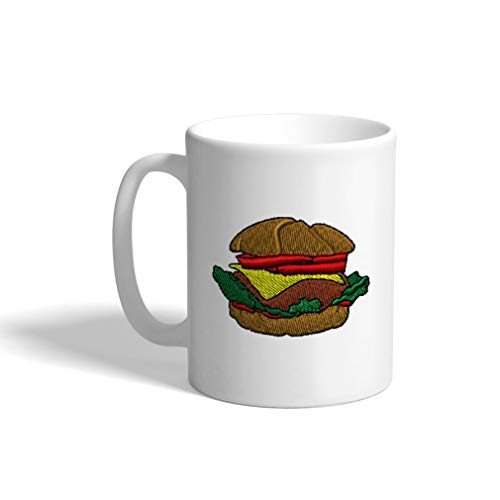 Ceramic Funny Coffee Mug Coffee Cup Hamburger White Tea Cup 11 Ounces