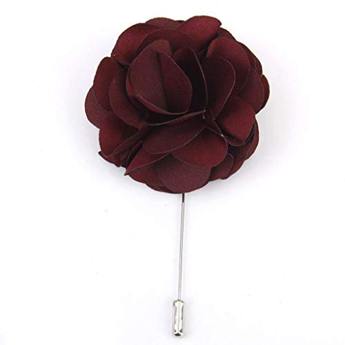 Mens Handmade Flower Tie Lapel Pin Stick Boutonniere Wedding Tuxedo Corsage Gift (Color - Wine Red)
