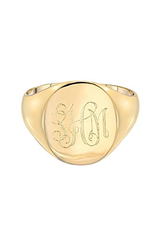 (14k gold large signet ring, monogram signet ring)